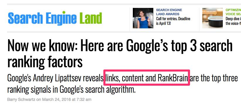Google Rank Brain for SEO